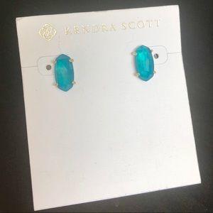 Betty Stud Earrings In Teal Quartzite